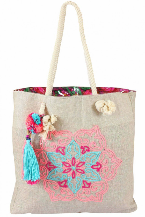 0000953 mushreq tote in pink and aqua with colorful waterproof inner lining
