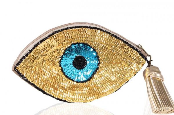 0002229 golden blue eye sequins clutch