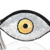 0002446 yellow eye sequins clutch in white