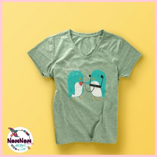 two handpainted birds on a tshirt