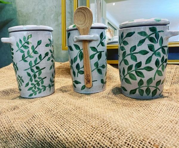 hand painted jars with lids