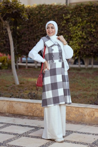 Checkered Cardigan Vest