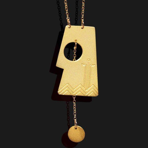 Aten necklace matt godl plated 18k scaled
