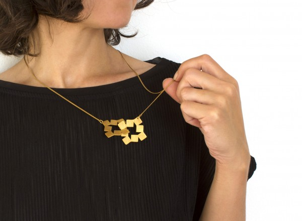 SQUARES GOLD PLATED NECKLACE