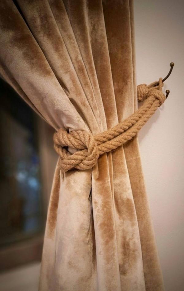 Curtain tie back, natural jute