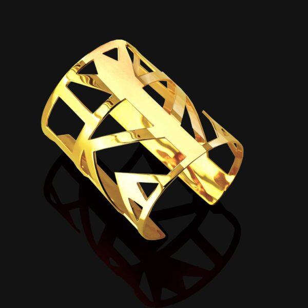 Lotus bracelet shiny gold plated 18ks 1 scaled