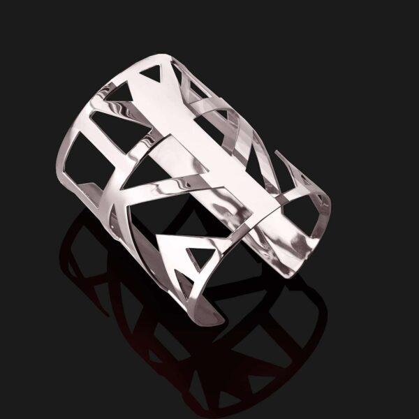 Lotus bracelet shiny platinum plated