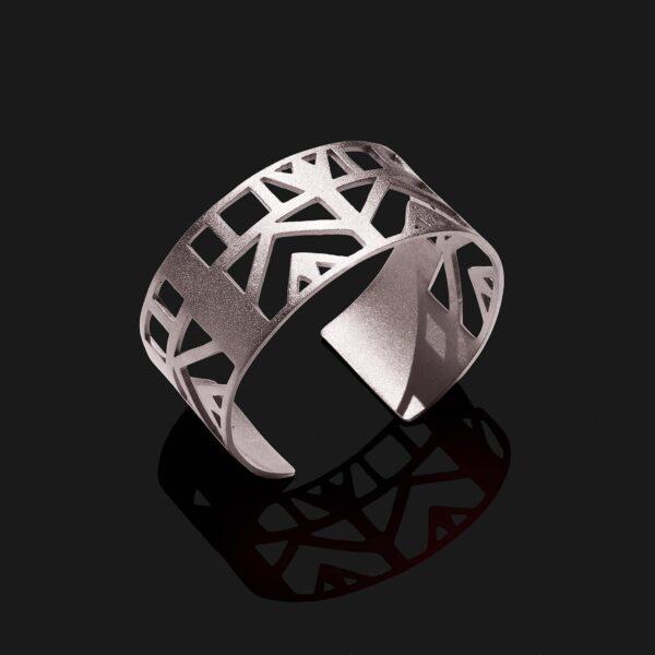 Small lotus bracelet matt platinum plated