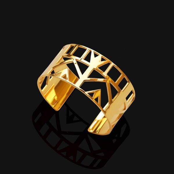 Small lotus bracelet shiny gold plated 18ks 1 scaled