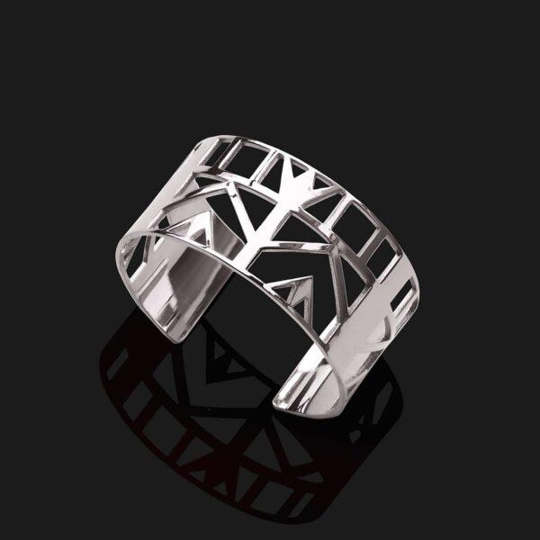 Small lotus bracelet shiny platinum plated