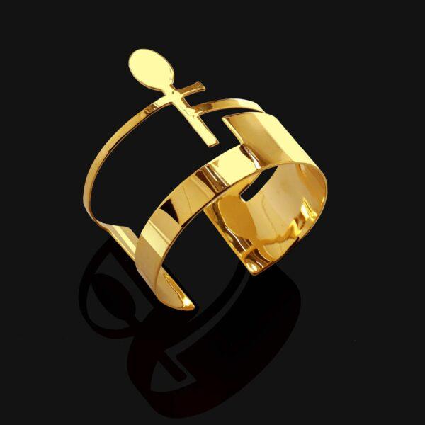 ankh bracelet shiny gold plated 18k small scaled