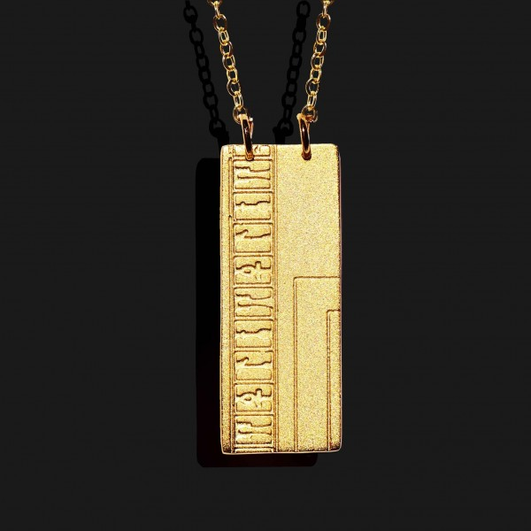 ankh hieroghlyphs necklace Matt gold plated 18k scaled