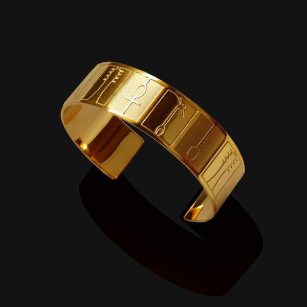 ankh hieroglyphs bracelet mix matt shiny gold plated18ks scaled