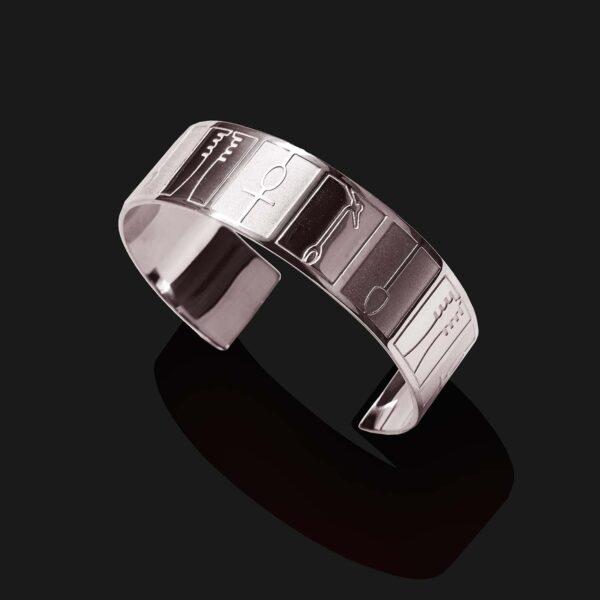 ankh hieroglyphs bracelet mix matt shiny platinum plated