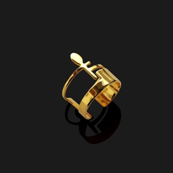 ankh ring shin golld plated 18k scaled