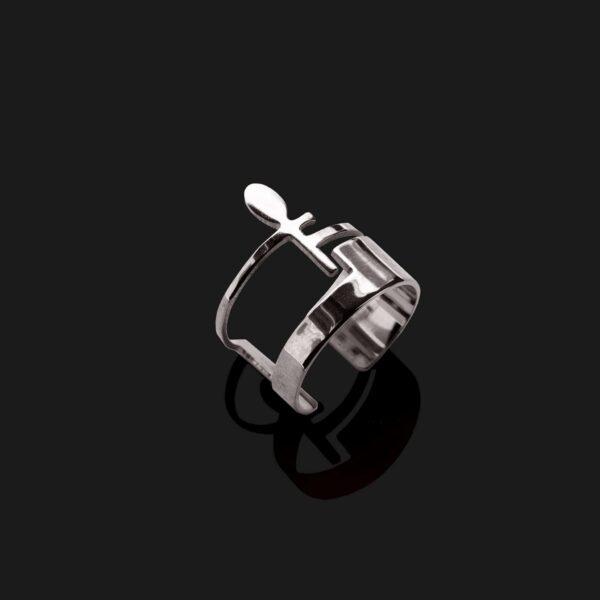 ankh ring shiny platinum plated scaled