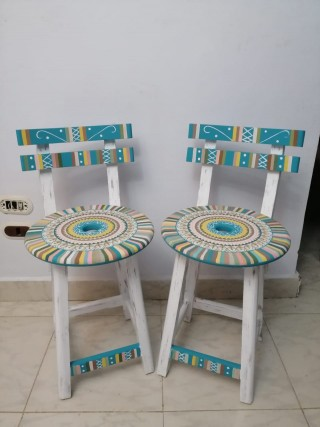 Striped blue chairs