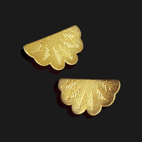 egyptian fan earrings matt gold plated 18k scaled