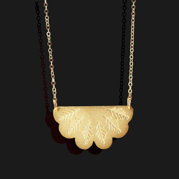 egyptian fan necklace Matt gold plated 18k scaled