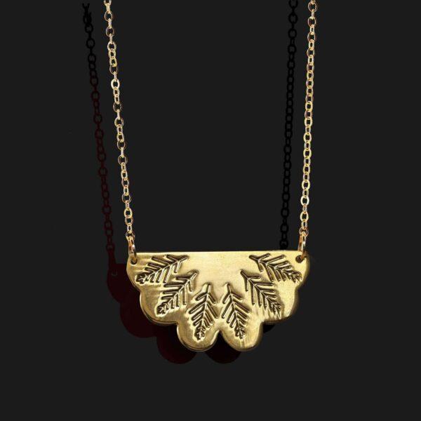 egyptian fan necklace shiny gold plated 18k scaled
