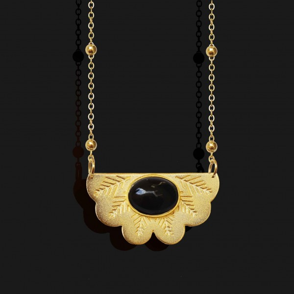 egyptian fan necklace with agate stone matt gold plated 18k scaled