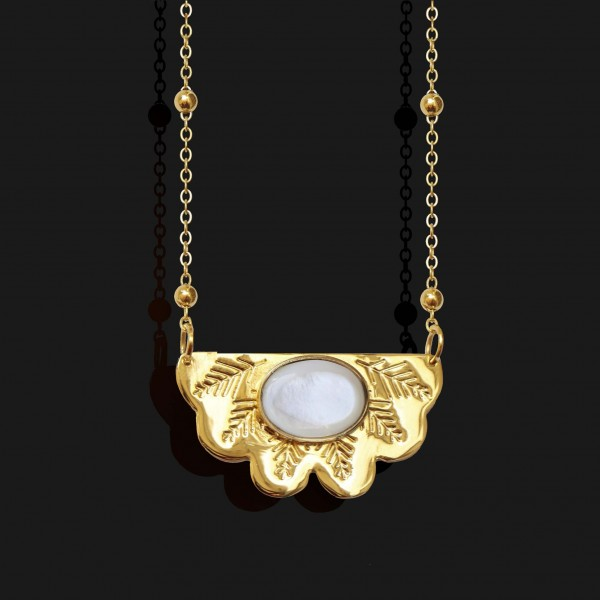 egyptian fan necklace with agate stone seashell stone gold plated 18k scaled