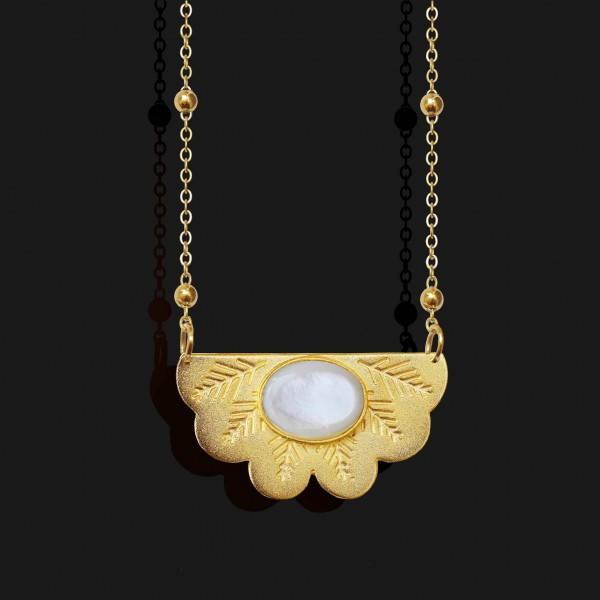 egyptian fan necklace with agate stone seashell stone matt gold plated 18k scaled