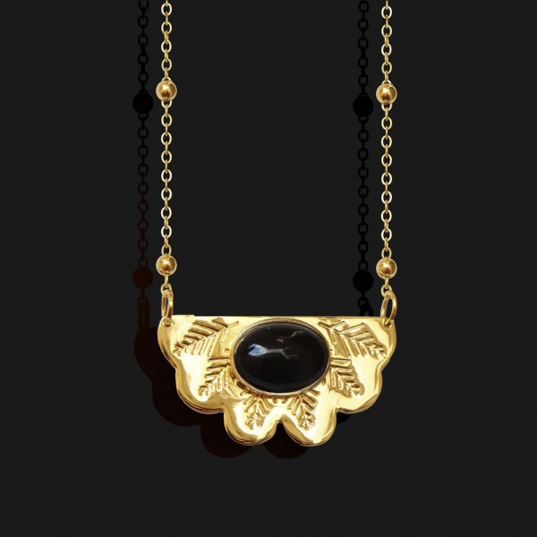 egyptian fan necklace with agate stone shiny gold plated 18k scaled