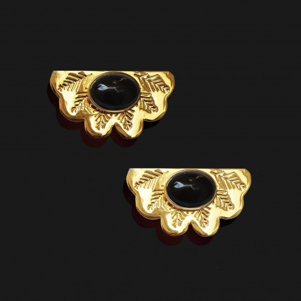 egyptian fan with agate stone earrings shiny gold plated 18k scaled