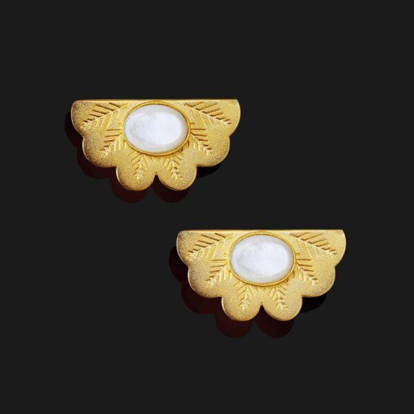 egyptian fan with stone earrings matt gold plated 18k scaled