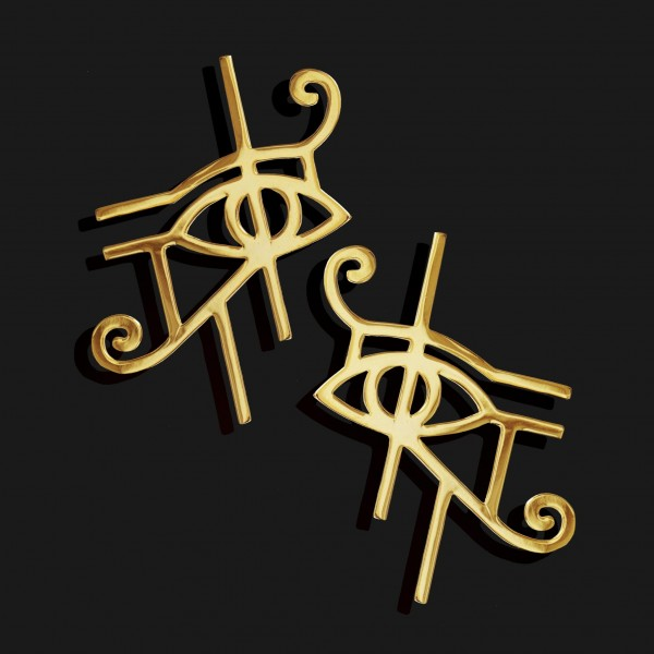 eye of horus earrings shiny gold plated 18k scaled