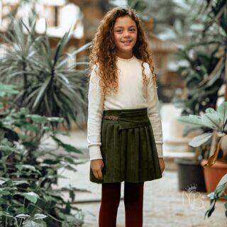 Plisse Green Skirt