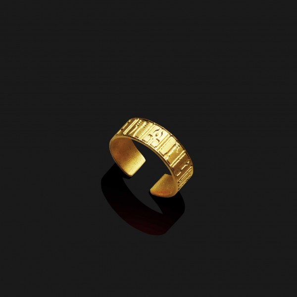 hieroghlyphs ring matt gold plated 18k scaled