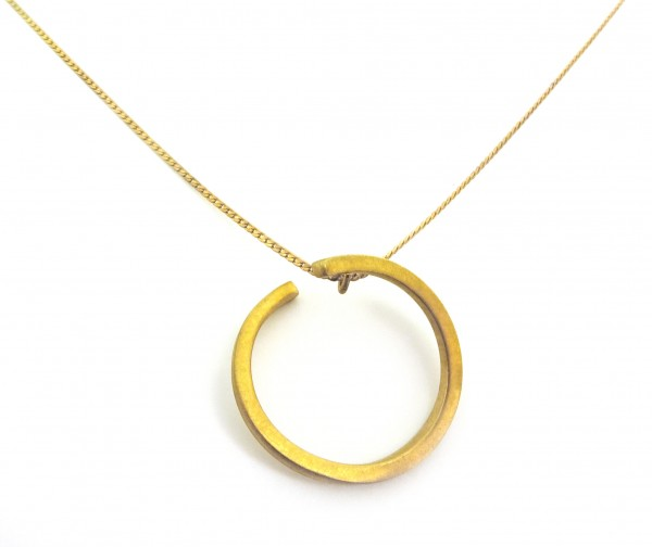 pendant necklace gold plated brass handmade jewelry