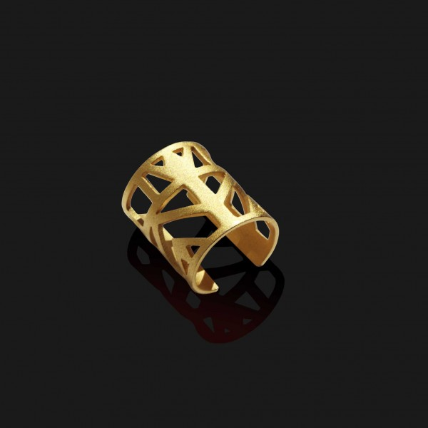 lotus knuckle ring matt gold plated 18k scaled