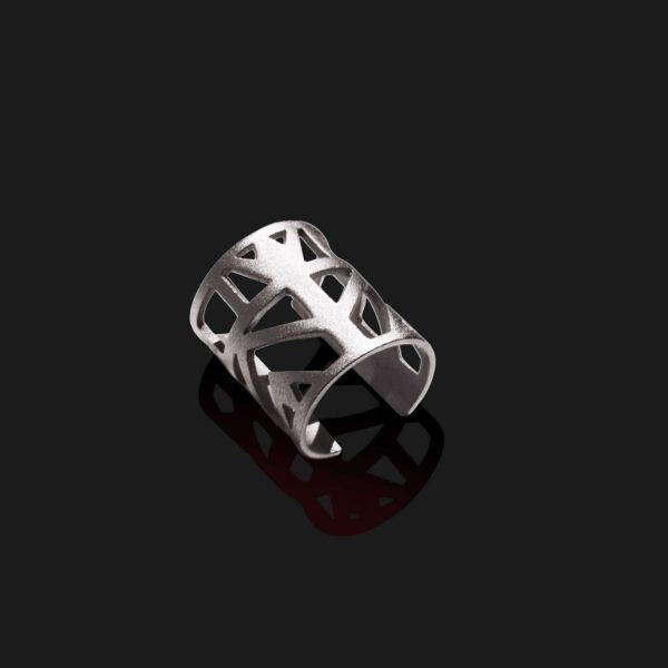 lotus knuckle ring matt platinum plated scaled