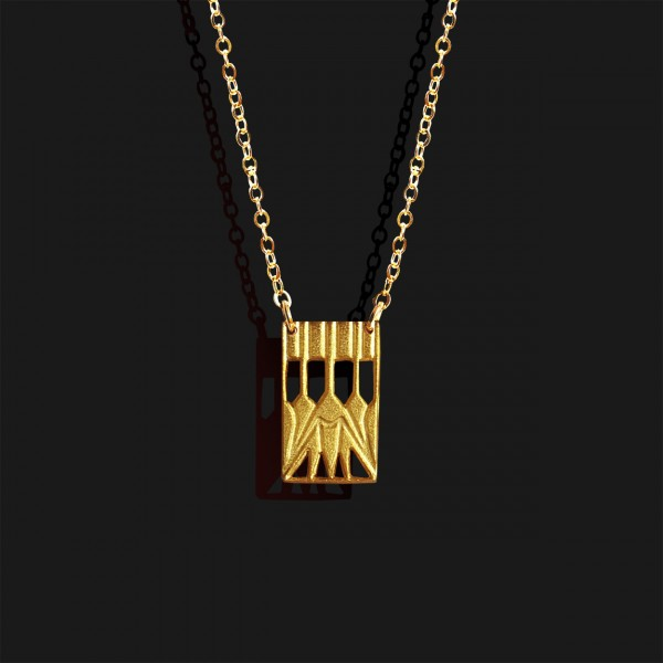 lotus necklace rectangle gold plated 18k