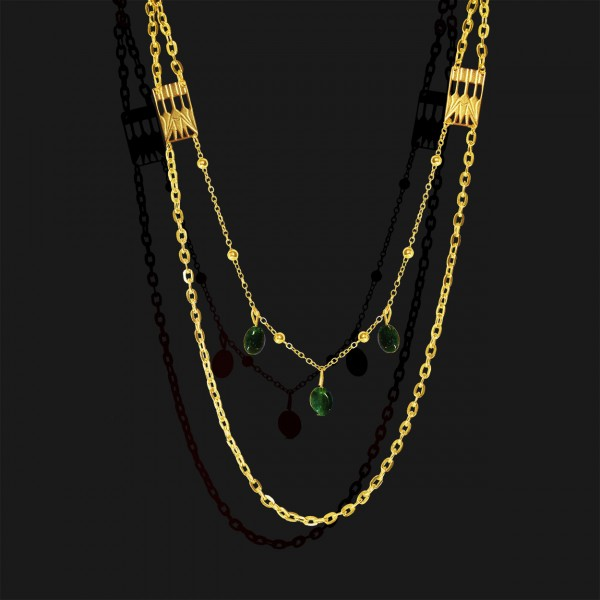 lotus necklace with jade stones gold plated 18k2