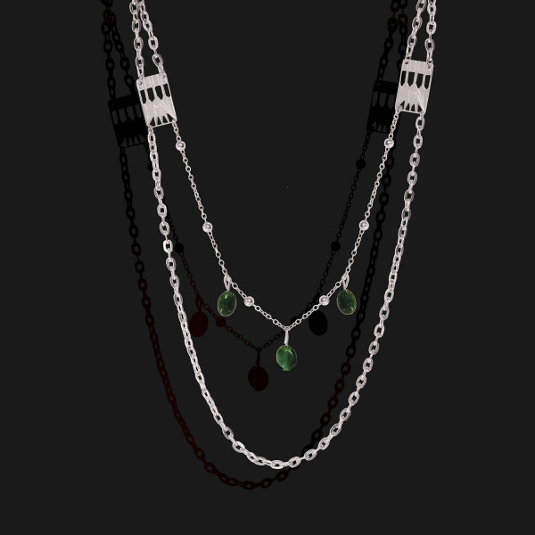 lotus necklace with jade stones platinum plated