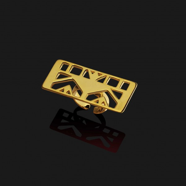 lotus rectangle ring shiny gold plated 18k scaled