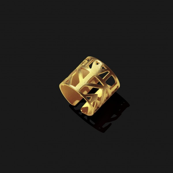 lotus ring matte gold plated 18k scaled