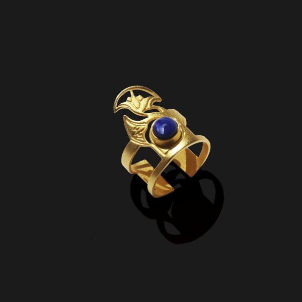 lotus ring with lapislazuli stone matt gold plated 18k scaled