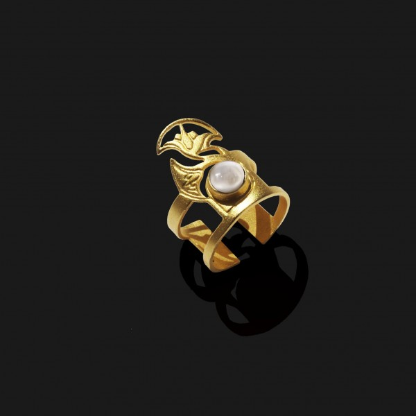 lotus ring with stone matt gold plated 18k 1 scaled