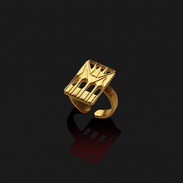 lotus square ring matt gold plated 18k scaled