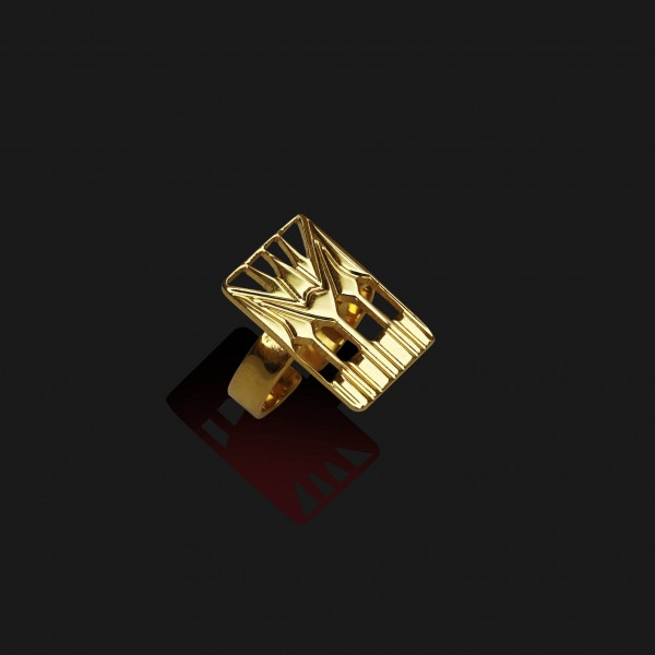 lotus square ring shiny gold plated 18k scaled