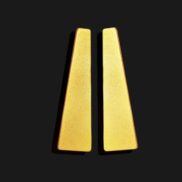 obelisk earrings matt gold plated 18k scaled