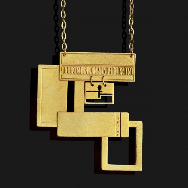 rectangles necklace matte gold plated 18k2