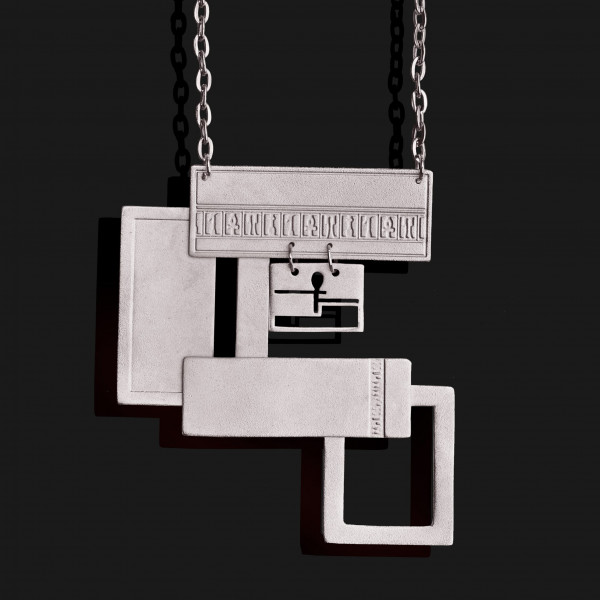 rectangles necklace matte platinum plated scaled