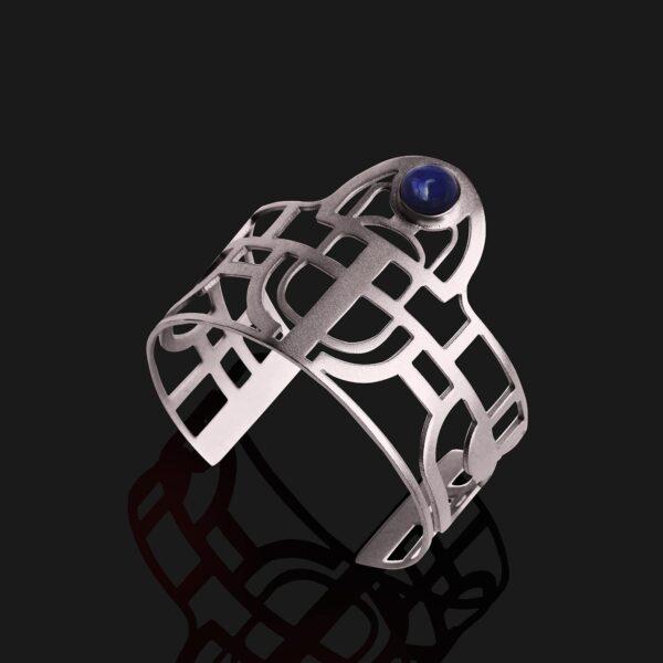 scarab bracelet with agate stone matt platinum plated