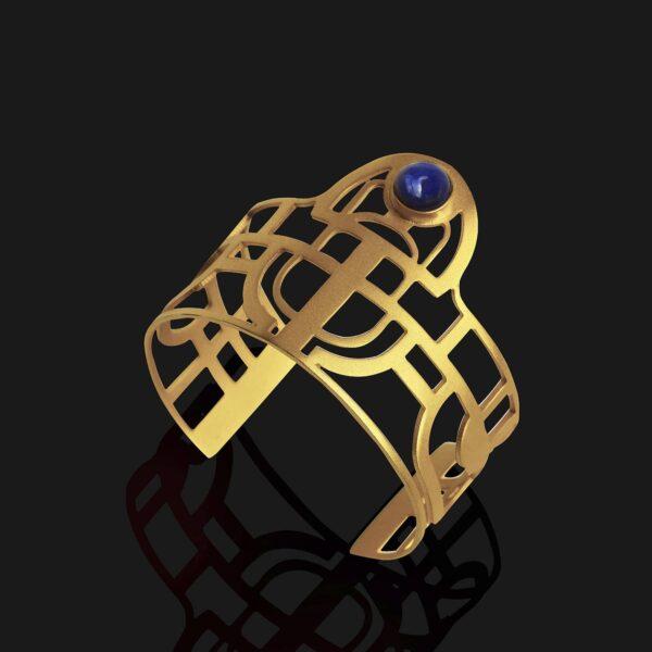 scarab bracelet with lapislazuli stone matt gold plated 18ks